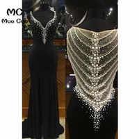 Женское вечернее платье с жемчугом Illusion, длинное эластичное сатиновое платье с треугольным вырезом и жемчугом, 2020