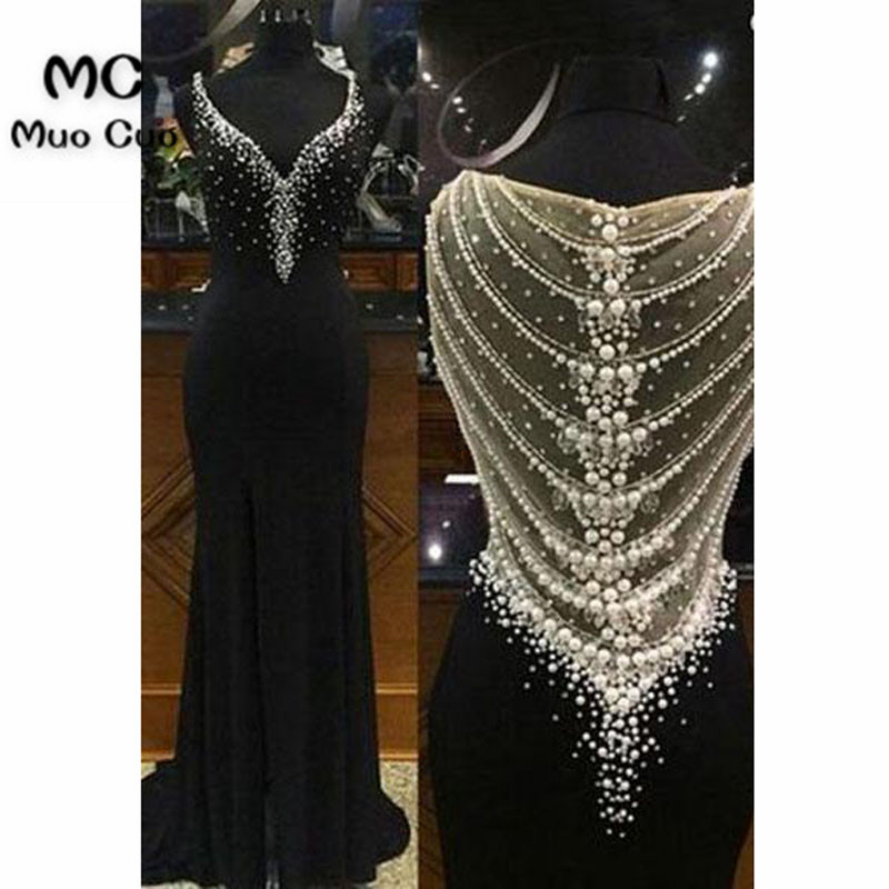 Illusion 2020 Black Mermaid Evening Dresses Long with Pearls Beaded V-Neck Elastic Satin Formal Evening Party Dress for Women