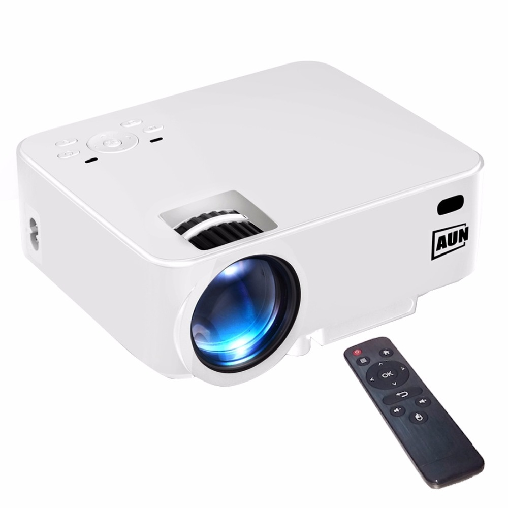 AUN AM200 Basic Version Mini Projector 1500 Lumens LED 800x480 Multimedia Video Projector Home Theater with Remote Controller