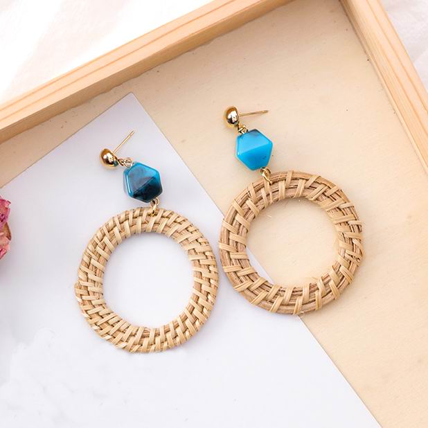 MENGJIQIAO 2018 New Handmade Natural Wheat Straw Circle Statement Big Earrings For Women Geometric Stone Holiday Charm Pendiente