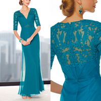 New 2014 Chiffon Long Blue Brides Mother Dresses For Weddings Beads Appliques Mother of the Bride Dresses With Half Sleeves