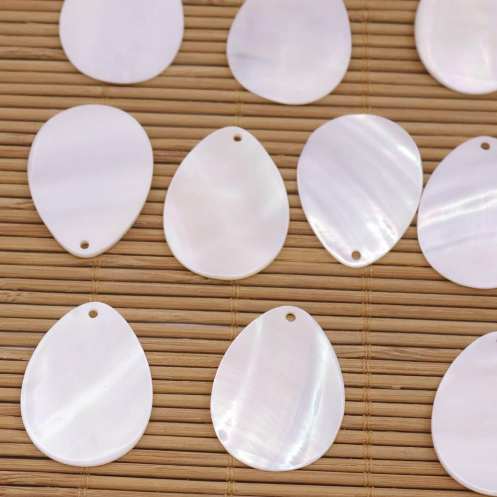 Купить с кэшбэком 10 PCS 20mmX30mm Teardrop Shell Natural White Mother of Pearl Jewelry Making DIY