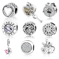 2016 Autnmn New Arrive Authentic 925 Sterling Silver Charms Fit Original Pandora Bracelet Heart In Round
