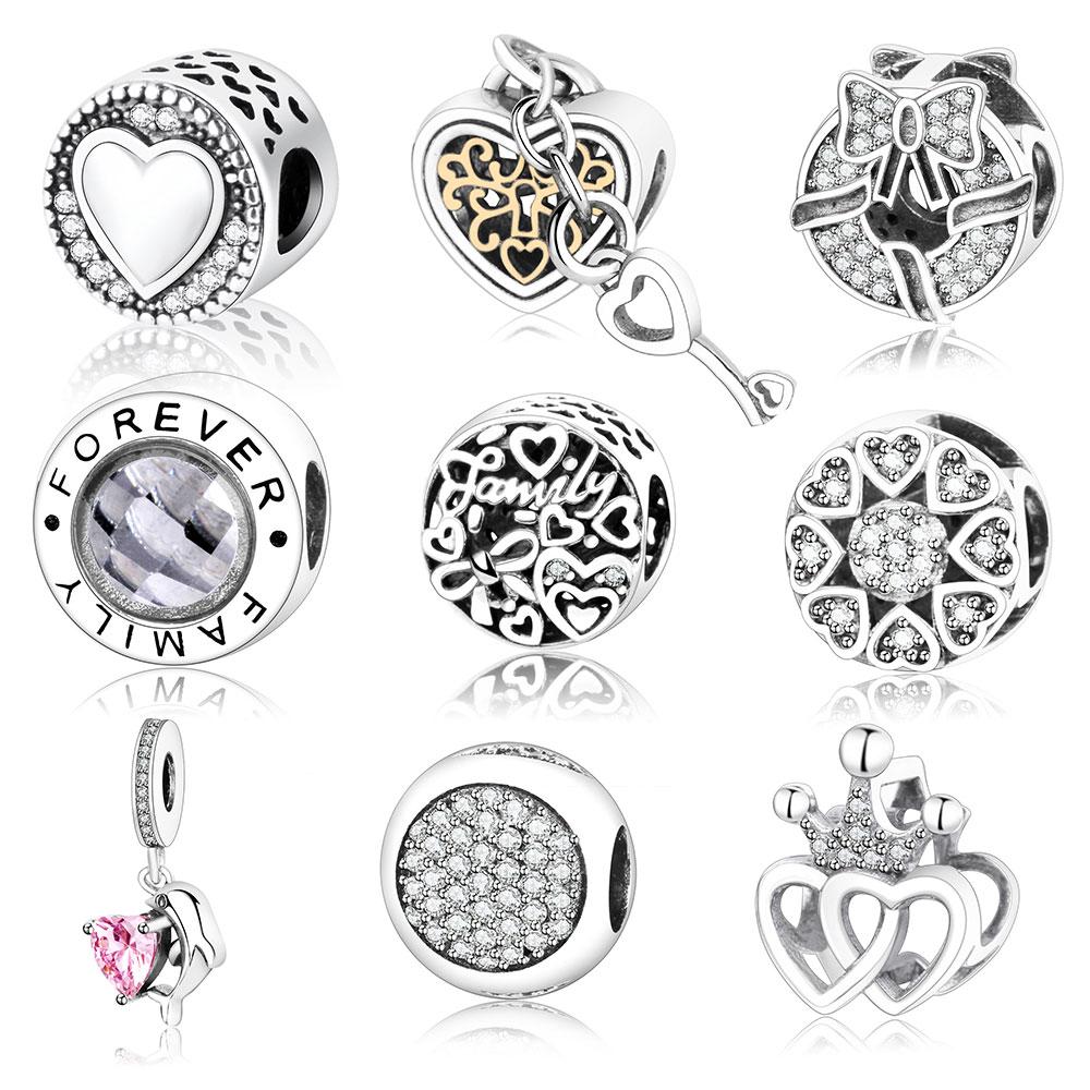 Осень 2017 г. Новое поступление Аутентичные стерлингового серебра 925 Талисманы подходят оригинальный Pandora Талисманы браслет сердце в Круглый заводская цена