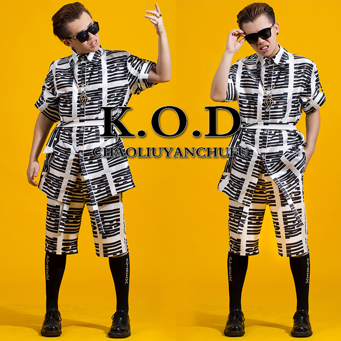 New male singer DJ with the money right Zhi-long stage costumes Men's printing letters long section waist (shirt + pants) suit