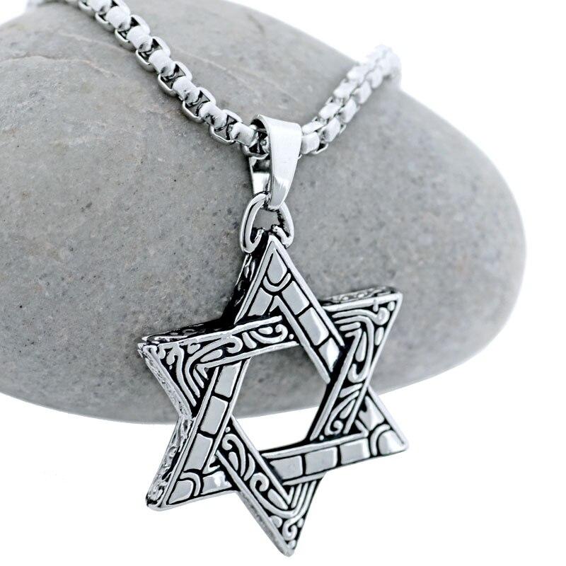 Magen Étoile de David Pendentif En Acier Inoxydable Collier Femmes Hommes Rétro Ton Argent Israël Collier