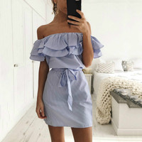 Fashion Stripe Ruffles Off Shoulder Summer Dress 2017 Women Casual Slash Neck Dress Party Beach Dresses