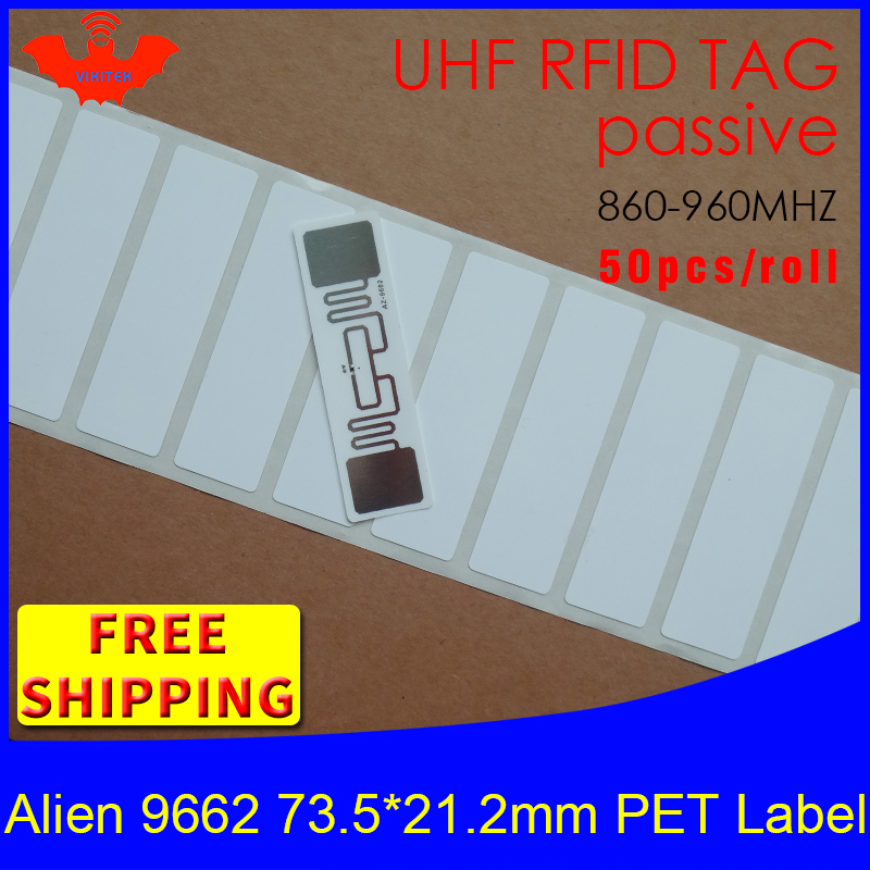 RFID Tag UHF Sticker Alien 9662 Oil And Water Proof PET Label 915m868mhz EPC 6C 50pcs Free Shipping Adhesive Passive RFID Label