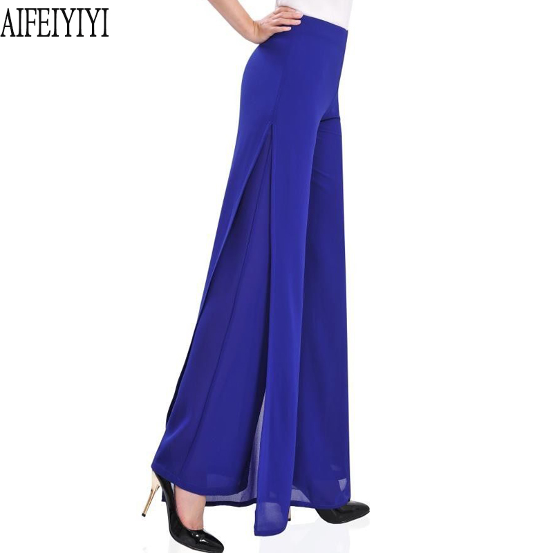 Plus Size 4XL 2019 Womens Side Split Flares Palazzo Chiffon   Wide     Leg     Pants   Loose High Waist Trousers Pantalon Culotte Mujer