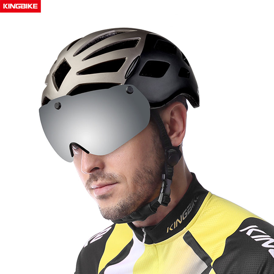 KINGBIKE Cycling Helmet MTB Road Bike Helmet With Light Windproof Glasses ce Insect Net Helmets Molded Men Women Bicycle Helmet