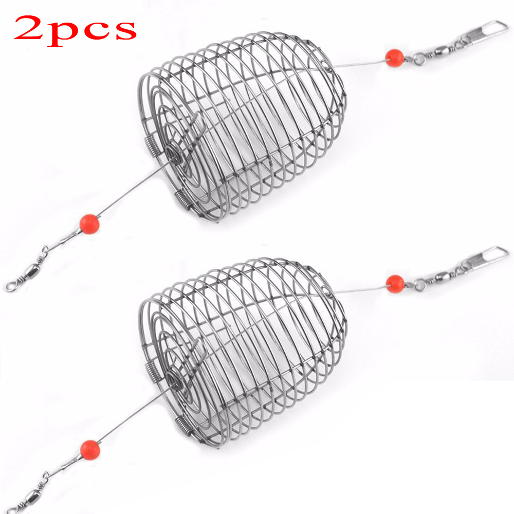 2PCS / LOT Stainless Steel Wire Fishing Lure Cage Small Bait Cage Fishing Basket Feeder Holder Fishing Tackle
