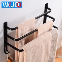 цена Towel Bar with Hooks Aluminum Bathroom Towel Holder Black Three Layer Towel Rack Hanging Holder Wall Mounted Bathroom Shelf онлайн в 2017 году