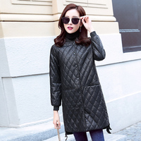 Han Edition Dress To Film The New Winter Baseball Collar PU Leather In The Long Leisure