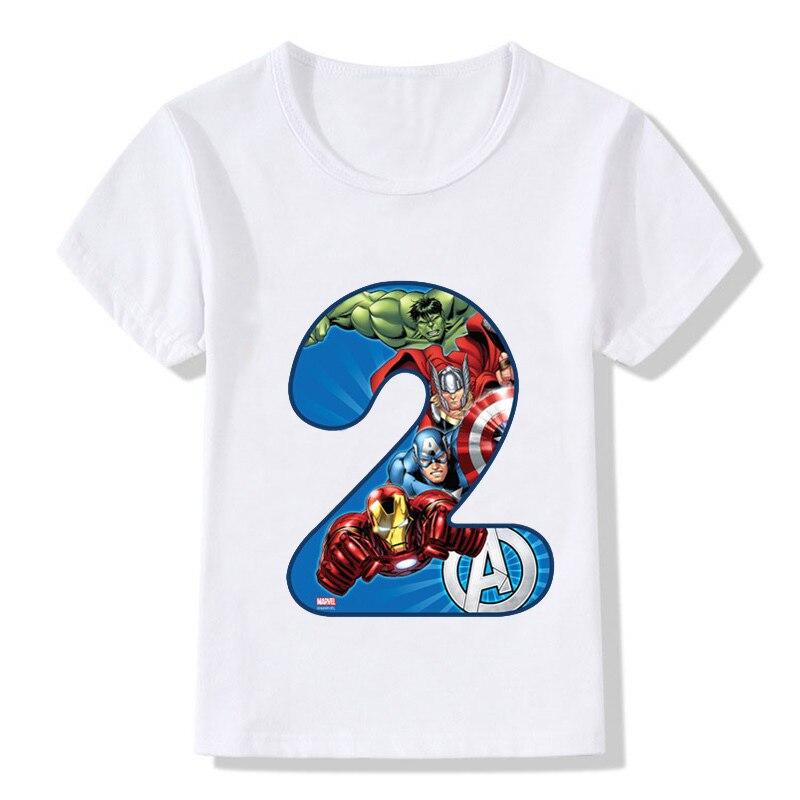 Enfants joyeux anniversaire Avengers numéro 1 ~ 9 T-shirt garçons et filles super-héros T-Shirt bébé numéro Top vêtements pour enfants