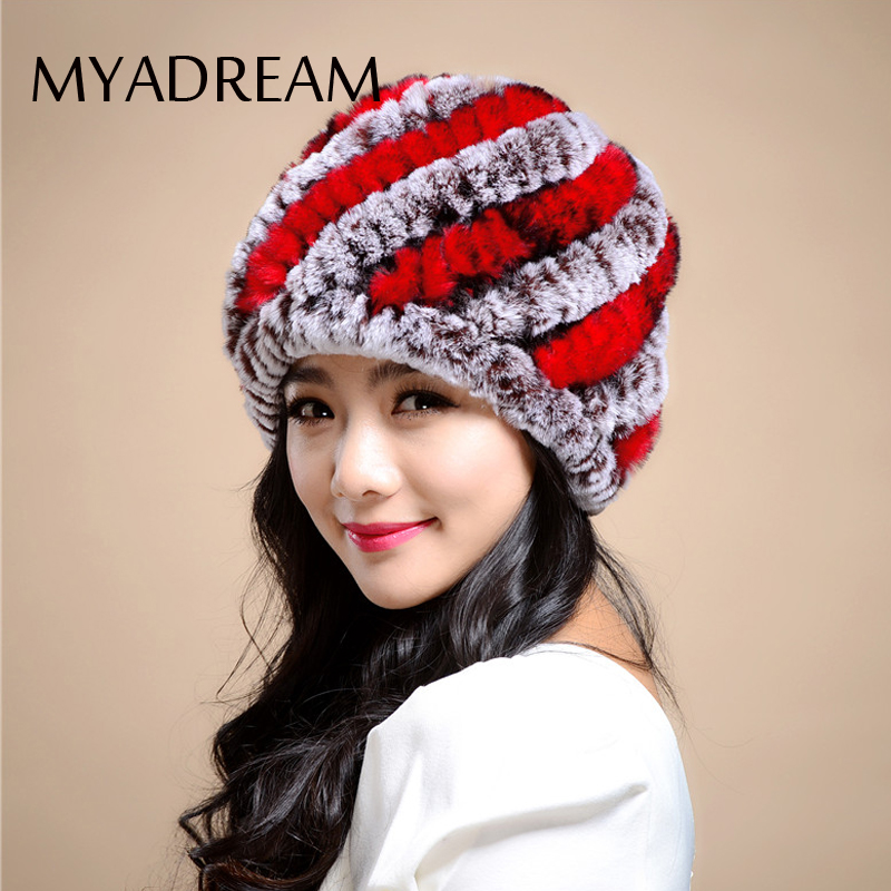 MYADREAM Warm Rex Rabbit Hair Beanie Hat Ear Protect Winter Knitted Hats for Women Ski Snowboard Fur Cap Skullies Bonnet Femme winter women beanie curl all match crochet knitted hiphop hats warm ski hat baggy cap femme en laine homme gorros de lana 62