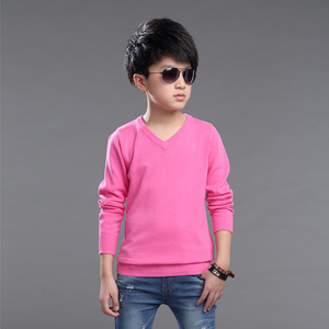 Image 5 - Fashion Boys Sweater Knitting Pattern Spring 2018 Children Pullovers Tops Cotton Kids Outerwear Clothes Pure Color Sweater 4 16Y