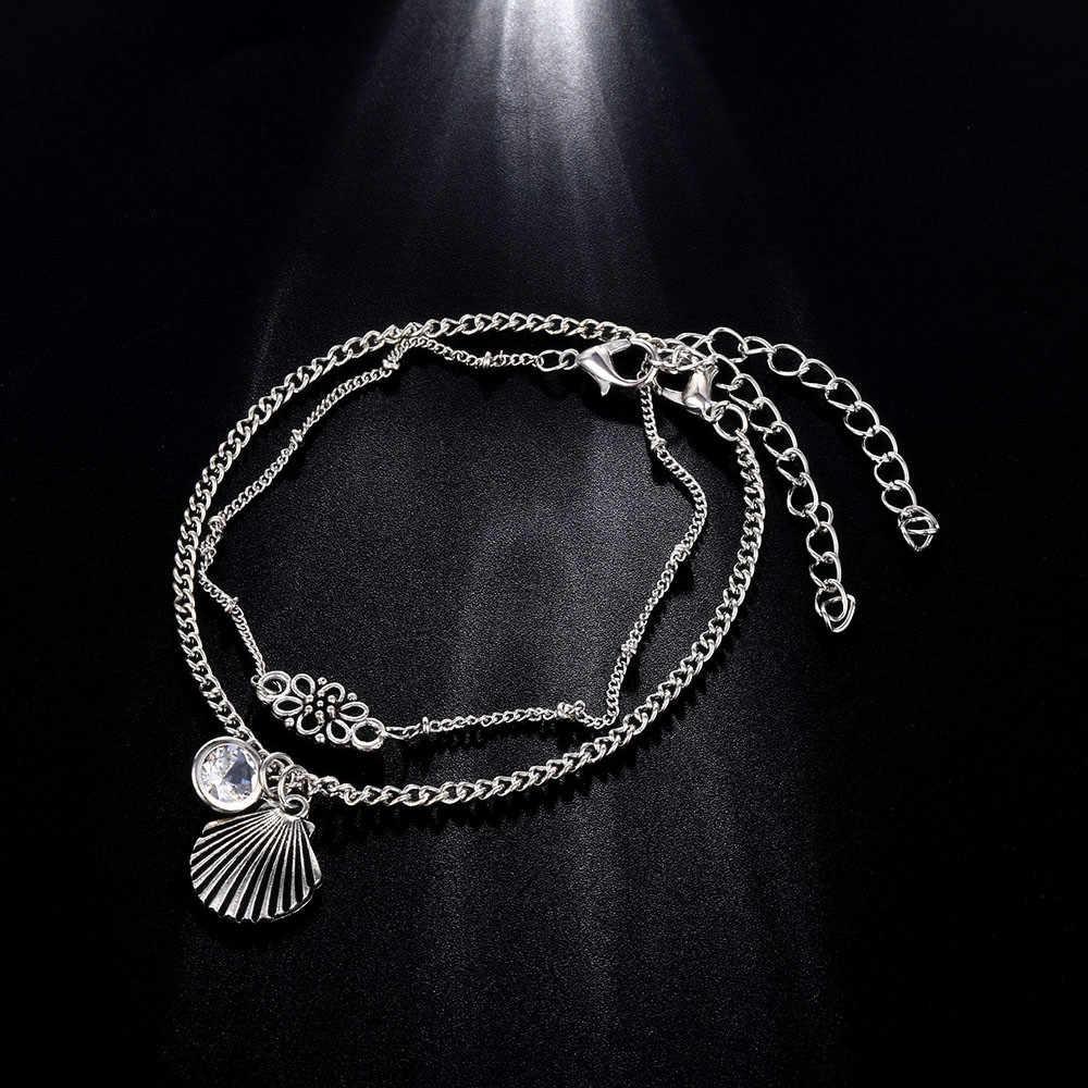 Czeski okrągły kryształ powłoki łańcuch Anklet kostki kwiat bransoletka urok łańcuszek na kostkę Tassel lato plaża Foot biżuteria obrączki dla kobiet