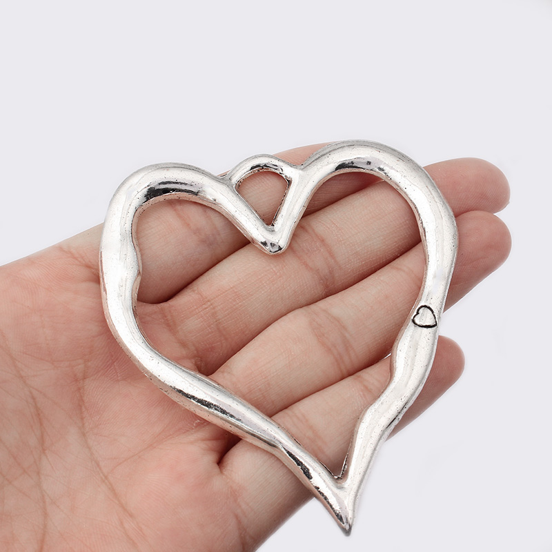 2pcs Antique Silver Hollow Heart Shape Carved Heart Charms Large Pendant Jewelry Materials Jewelry Charms Making Finding 67*79mm