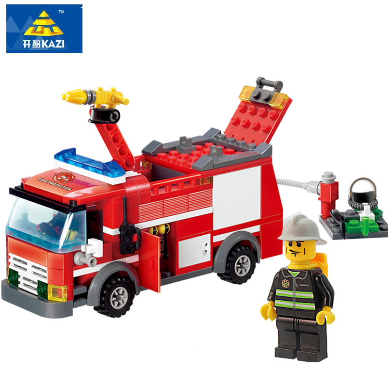 KAZI 206pcs Legoings City Fire Truck Building Blocks Firefighter Toy Bricks Educational DIY Bricks Playmobile Toys for Children kazi new 774pcs city fire station truck helicopter firefighter minis building blocks bricks toys brinquedos toys for children