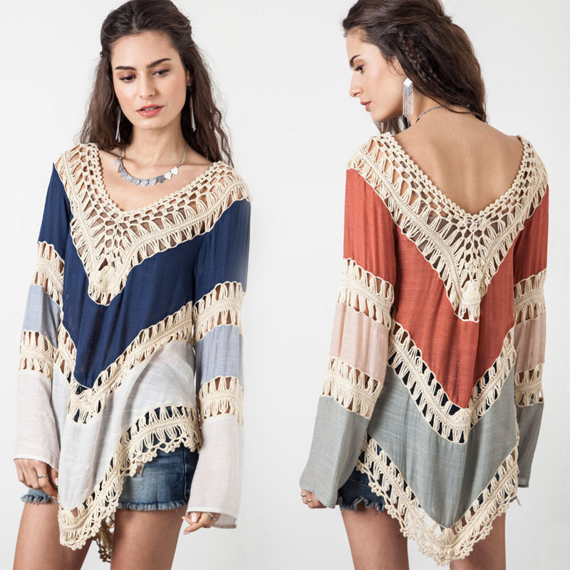 Bkning Rode Patchwork Pareo Beach Cover Up Dames Beachwear Coverups Lange mouwen Katoenen Cover-Ups Robe de plage Zwemkleding 2019 V