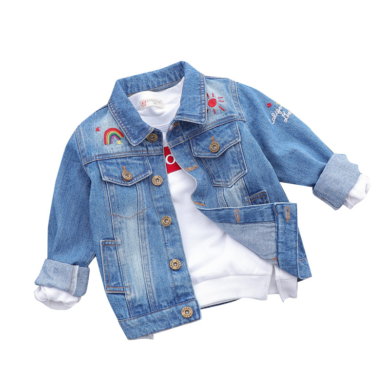 2018 Spring Autumn Boys Children Turn Down Collar Single Breasted Vintage Pockets Denim Jackets Kids Outwear Jeans Coats Baby single breasted dual pockets denim skirt