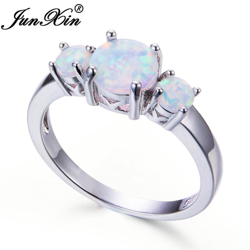 Magnifique White Fire Opal Fleur Bague de Mariage Argent 925 Fiançailles Bijoux Cadeaux