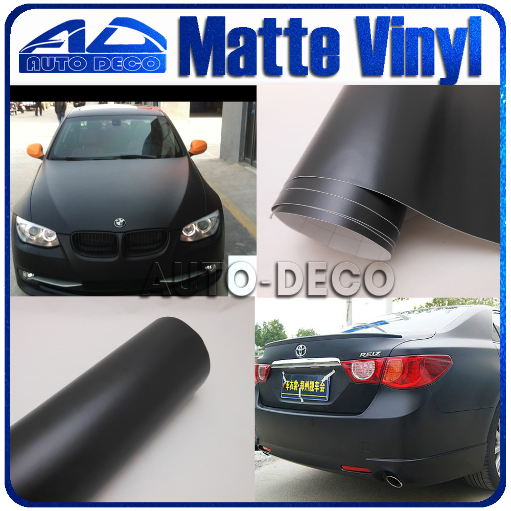 Wholesale Black Matte Vinyl Car Wrapping sticker Size: 1.52*30m with air release car car decorate film oumily 360 rotation car suction cup stand holder mount bracket for gps cell phone black red