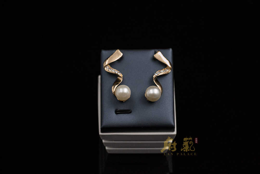 Fine jewelry pearl set  nigerian wedding african beads gold color  simulated pearl necklace stud earring free shipping