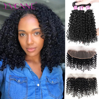 Yvonne Malaysian Curly Human Hair Frontal With Bundles Virgin Hair Weave 3 Bundles With Frontal 13*4 Natural Color