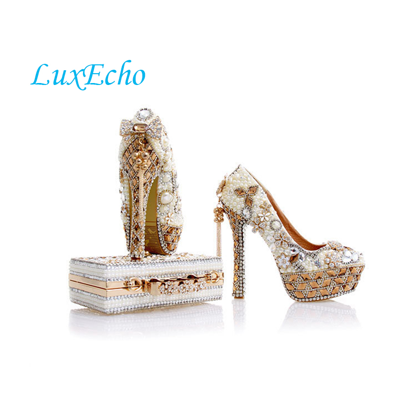 LuxEcho Beige Pearl Wedding shoes with matching bags 14cm high heels Platform shoes woman Party Dress shoe and bag set women wedding shoes with matching bags yellow pearl bride party dress shoe and bag set high heels platform shoes ladies shoes