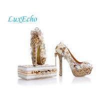 LuxEcho Pérola Bege Casamento sapatos com sacos de harmonização 14 cm sapatos de salto alto sapatos de Plataforma mulher Vestido de Festa de sapato e bolsa conjunto