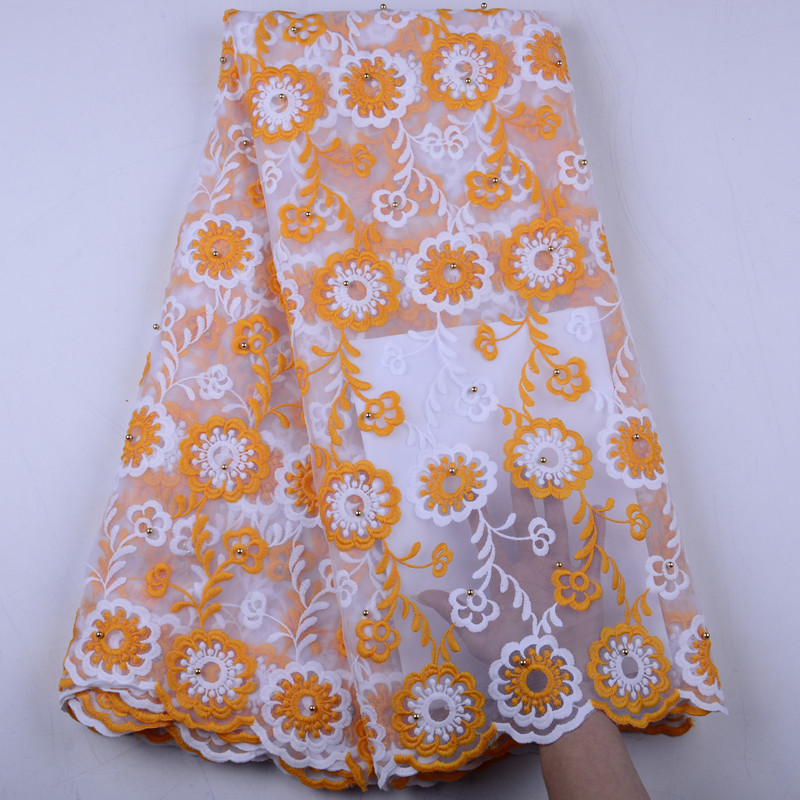 Orange French Lace Fabric 2019 New African Lace Fabric With Embroidery Mesh Tulle Lace Fabric High