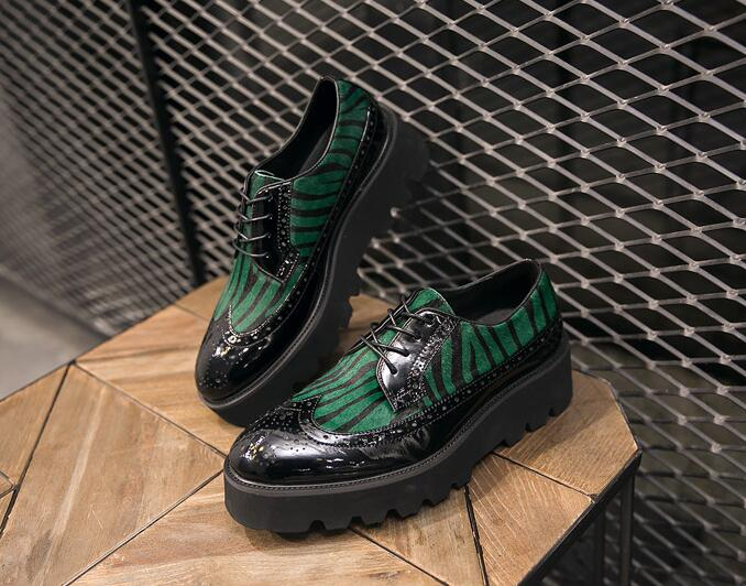 Carved Brogue Shoes Men Lace Up Platform Height Increasing Smart Casual Shoes Vintage Printed Hair Green Dress Brogue men s casual lace up letters printed jogger pants