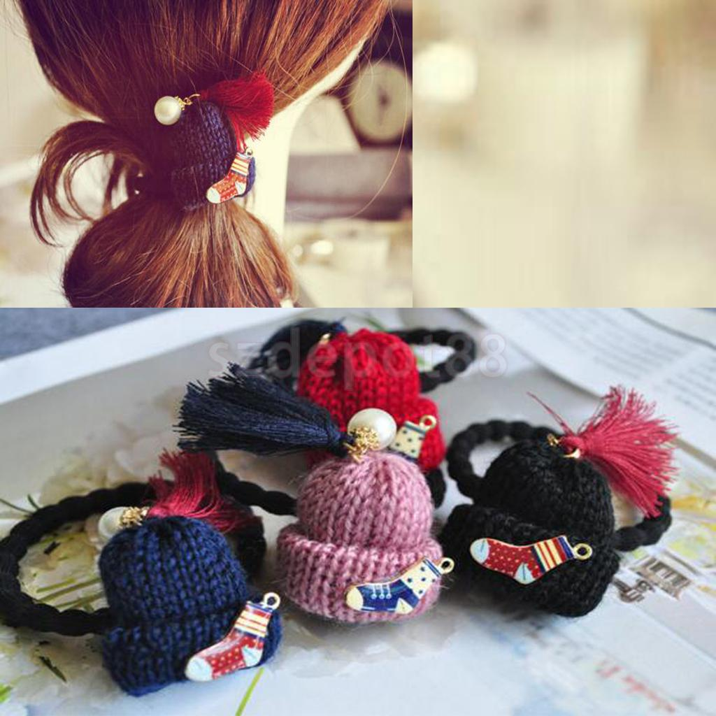 Vintage hair accessory holder - 2pcs Vintage Wool Hat Tassel Rope Ring Hairband Ponytail Holder China Mainland