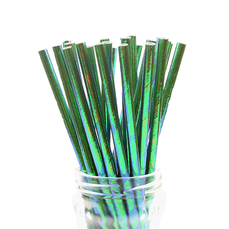 Image 4 - 25pcs/lot Pearl Rainbow Iridescent Paper Straws Kids Birthday Wedding Decoration Bridal Shower Party Drinking Paper Straws DIY-in Disposable Party Tableware from Home & Garden