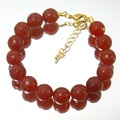 Natural Stone Jewelry Vintage Classic Royal Rubies  Beaded Bracelet for Women (length 21cm)