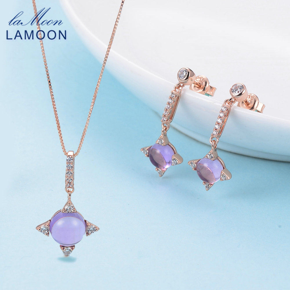 LAMOON 925 sterling-silver-jewelry Fine Jewelry Sets Cross star 2.2ct Natrual Amethyst Women Engagement Women Necklace Earrings new 240w desktop power supply car unit psu for dell optiplex h240es 00 h240as 00 ac240es 00 ac240as 00 l240as with cooling fan
