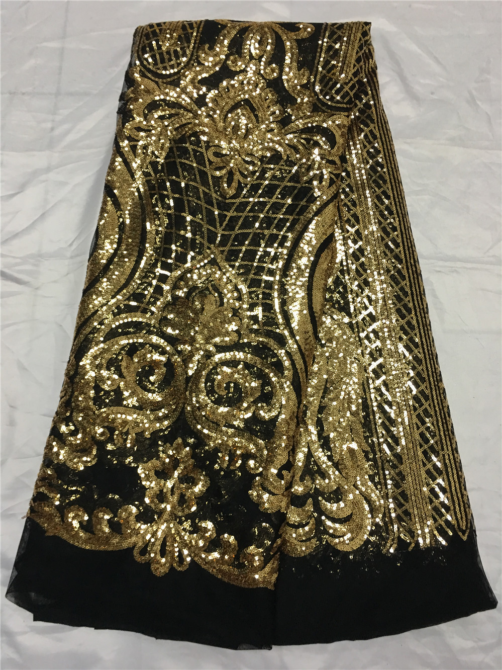 African Lace Fabric Gold Sequins Black Mesh Lace High