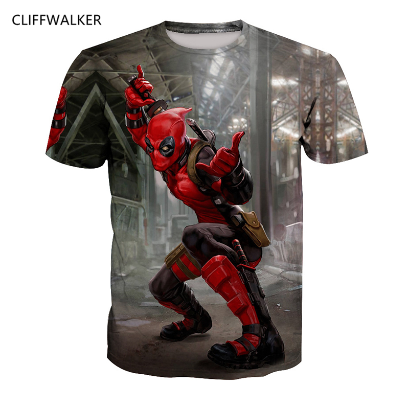 DropShipping For Mens Womens American Comic 3D Printing Badass Deadpool Tees Cartoon Characters T shirts Funny Casual Tops