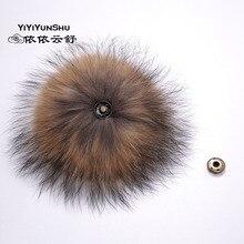 Yiyyunshu 15-22 см помпон из натурального меха енота для шапки помпоны из натурального меха большой меховой шарик для обуви шляпа и сумка