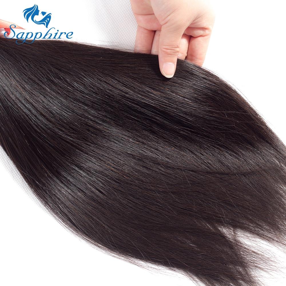 Safir brasilianska Straight Human Hair Bundles 100% Remy Hair Weave - Barbershop - Foto 6