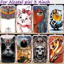 Plástico rígido & Soft TPU Silicones Asseclas Casos de Telefone Flor Para pixi alcatel onetouch 3 4.0 polegada 4013 4050 4013x tampa do telefone