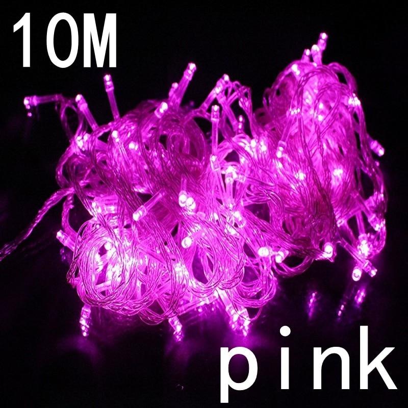 Розовый цвет 10 м Водонепроницаемый 220 В 100 LED праздничные огни строки для Рождество фестиваль партия фея Цвет ful Рождество гирлянды светодиод... ...