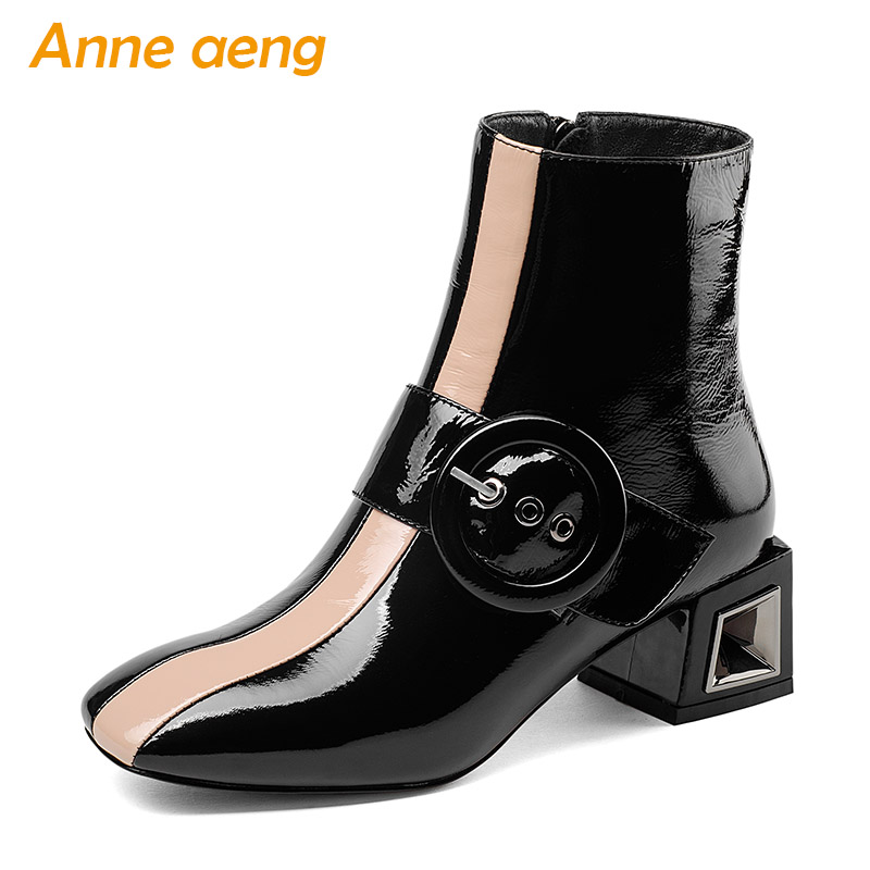 2018 New Autumn/Winter Genuine Leather Women Ankle Boots Mixed Colors Square Toe Zip Sexy Ladies Snow Boots Black Women Shoes printing new boots 2015 autumn winter genuine leather mixed colors thick with pointed toe woman boots stylish comfortable shoes
