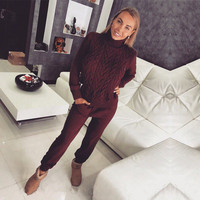 Tapakva Women sweater suit and sets Casual Knitted Sweaters Pants 2PCS Track Suits Wool Knitted Trousers+Jumper Tops Set