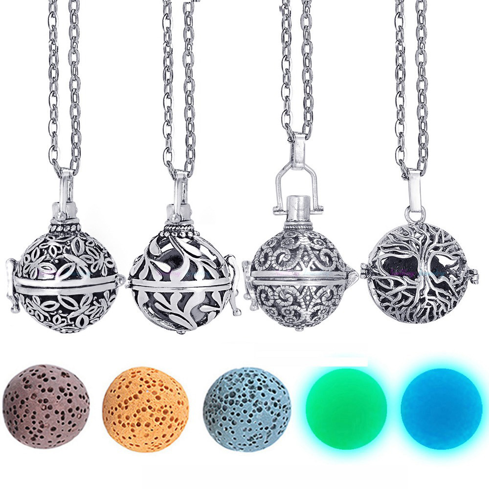 Dropshipping Felt Ball Lava Stone Aromatherapy Antique Vintage Glow Diffuser Necklace Locket Necklace for Perfume Essential Oil