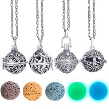 Dropshipping Felt Ball Lava Stone Aromatherapy Antique Vintage Glow Diffuser Necklace Locket Necklace for Perfume Essential Oil(China)