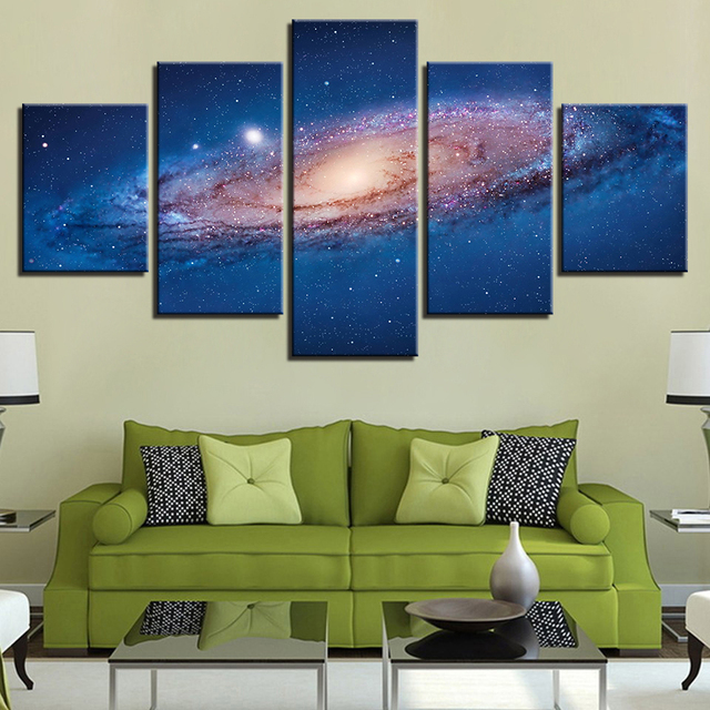Wall Art Canvas HD Prints Poster 5 Pieces Universe Space Nebula Paintings Living  Room Decor Starry
