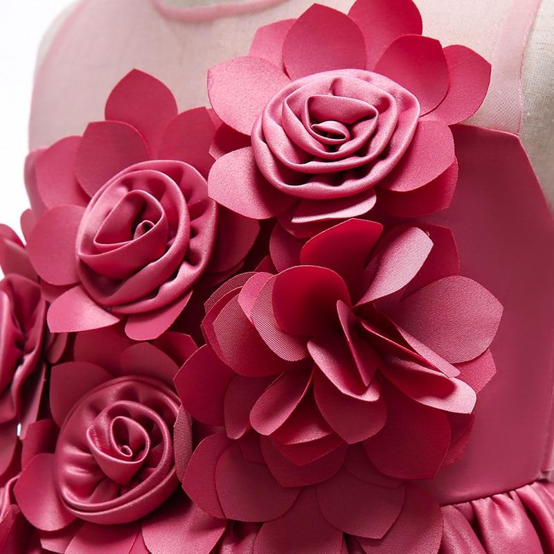Elegant Rose Fower Girls Dress Kids Princess Birthday Applique Prom Designs Ball Gown Fashion Children Dresses For Girl Clothes (5)