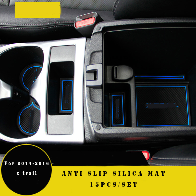 15pcs Non slip x-trail door pad cup mat door gate slot mat case for nissan x trail 2014 2015 xtrail auto accessories car styling slogan print door mat